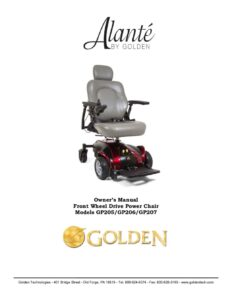 thumbnail of 4. Golden Owners Manual – Owners's Manual – Alante Series GP205 GP206 GP207 Power Wheelchair